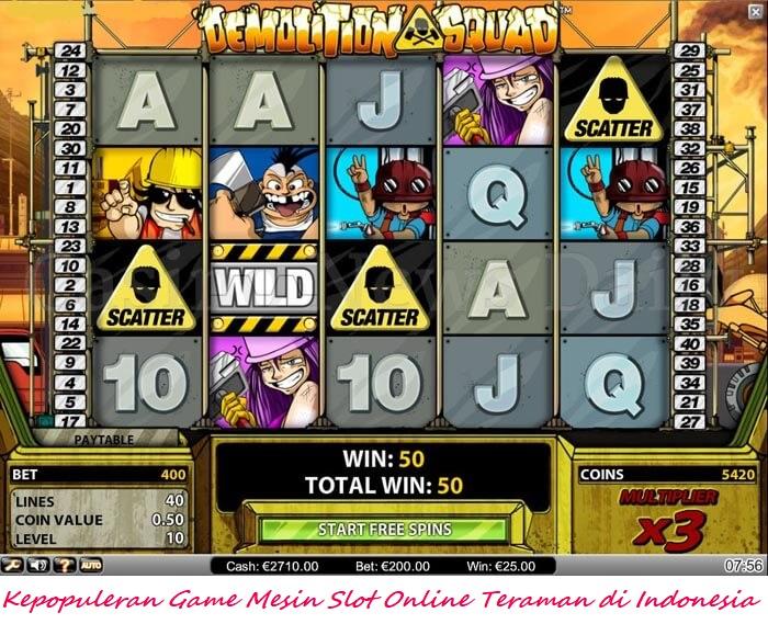 Kepopuleran Game Mesin Slot Online Teraman di Indonesia